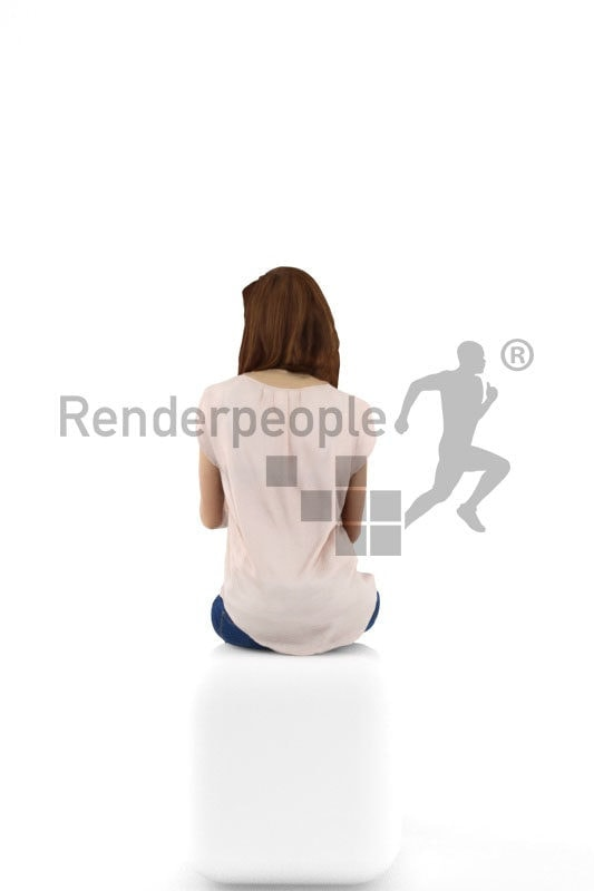 3d people service, white 3d woman sitting and typing