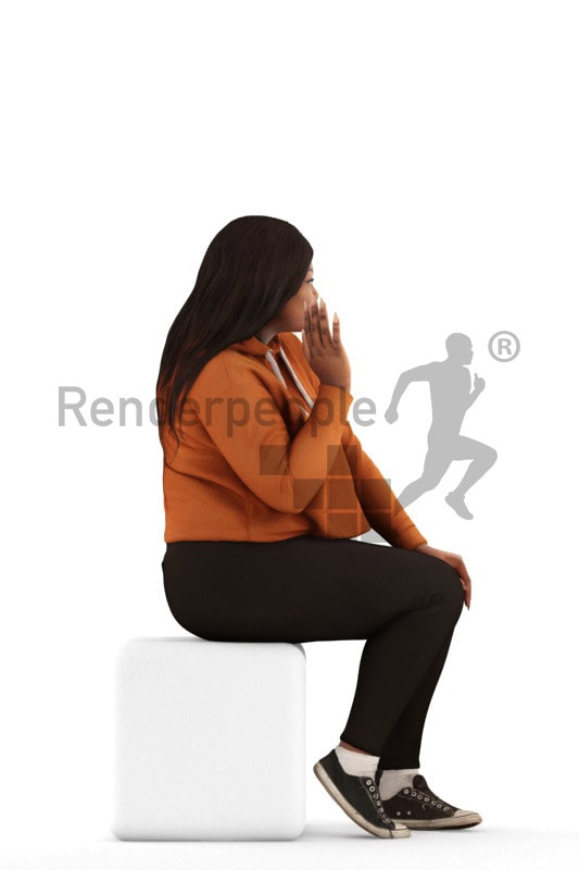 3d people sitting, black 3d woman sitting and waving