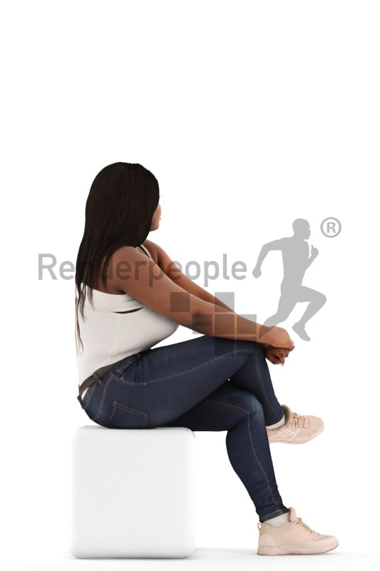 3d people sitting, black 3d woman sitting and waiting