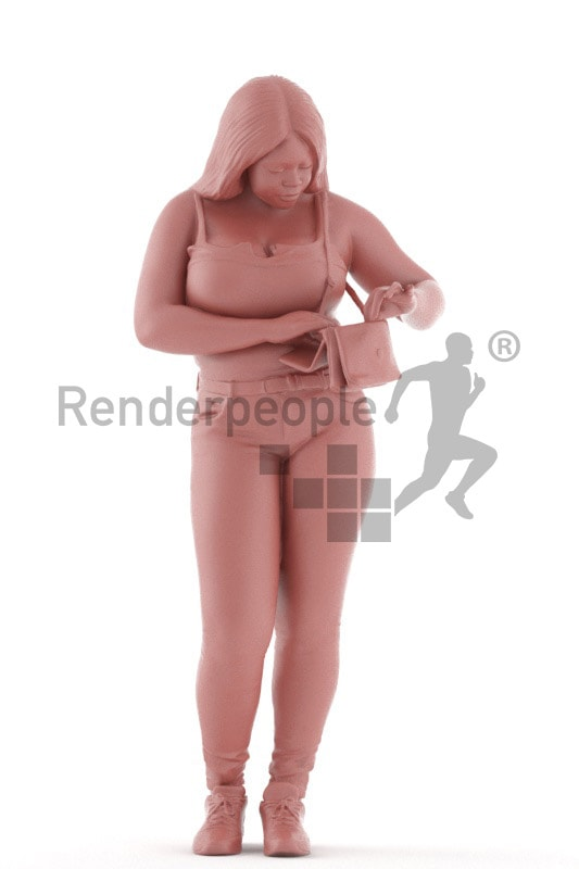 3d people sitting, black 3d woman standing searching in her clutch