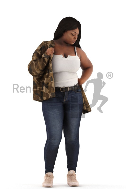 3d people sitting, black 3d woman standing putting on her jacket
