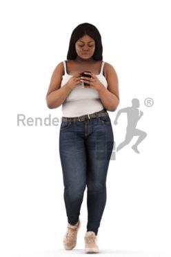 3d people walking, black 3d woman walking holding a cup