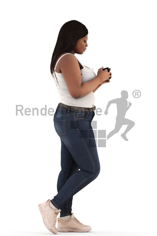3d people walking, black 3d woman walking holding a cup
