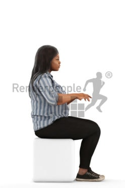3d people sitting, black 3d woman sitting and typing on a keyboard