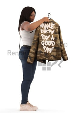 3d people standing, black 3d woman looking at a retail jacket