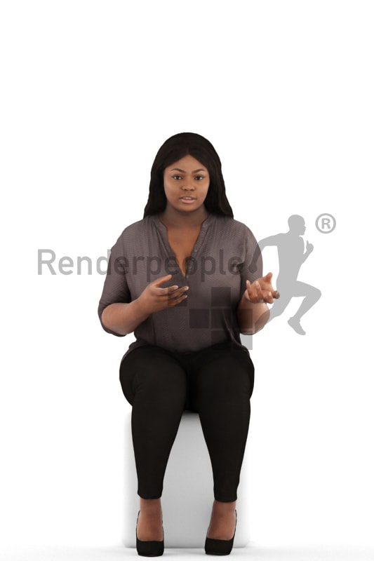 3d people business, black 3d woman sitting and discussing