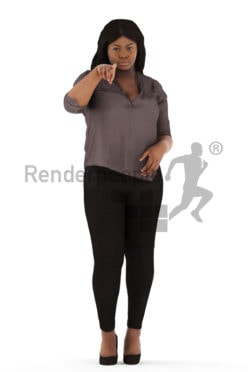 3d people business, black 3d woman standing and pointing