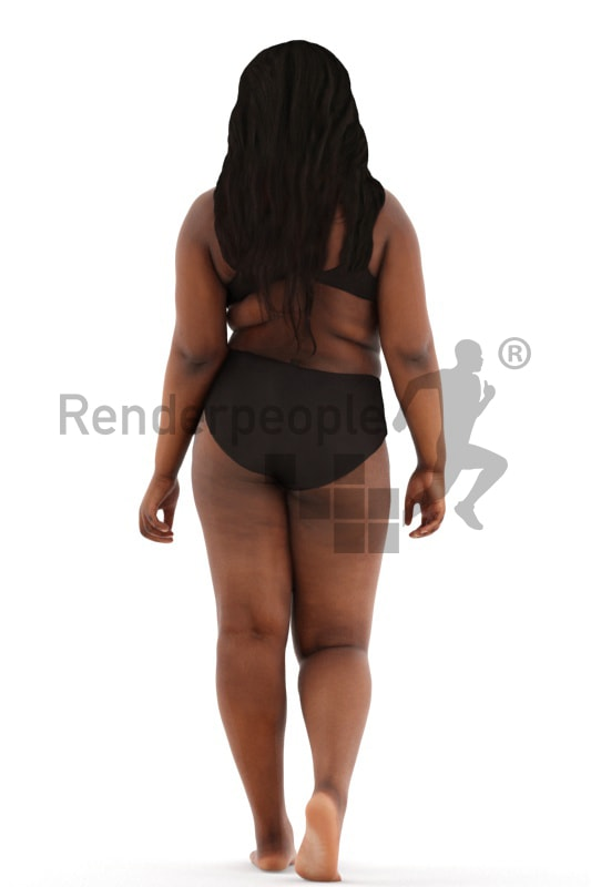 3d people spa, black 3d woman walking