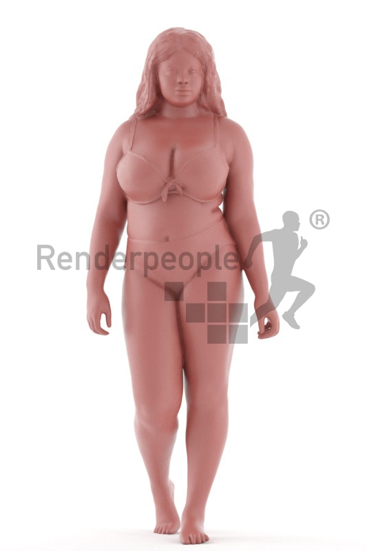 3d people spa, black 3d woman walking
