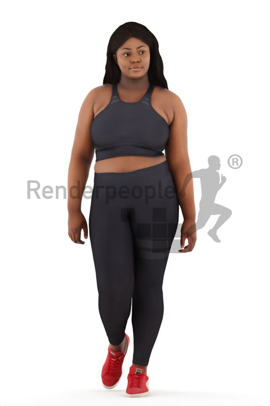 3d people sports, black 3d woman walking