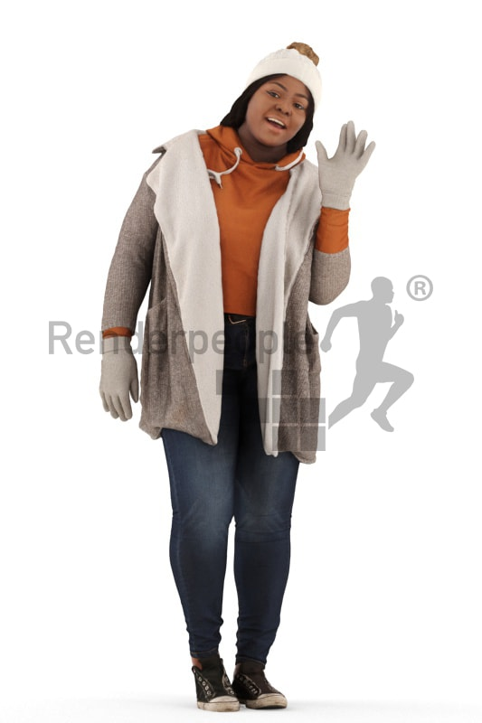 3d people outdoor, black 3d woman standing waving