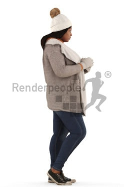 3d people outdoor, black 3d woman standing drinking coffee