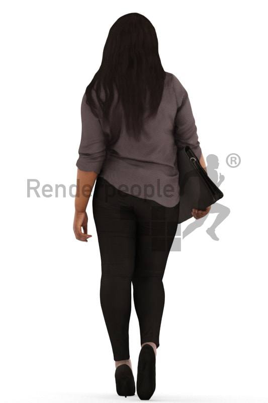 3d people business, black 3d woman walking with a briefcase