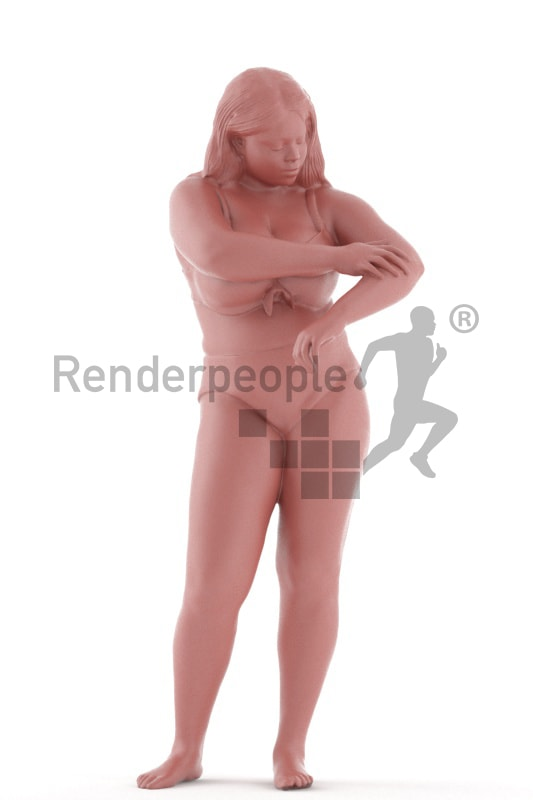 3d people spa, black 3d woman standing and using lotion