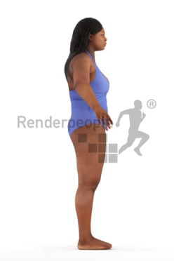 3d people swimming, rigged black woman in A Pose