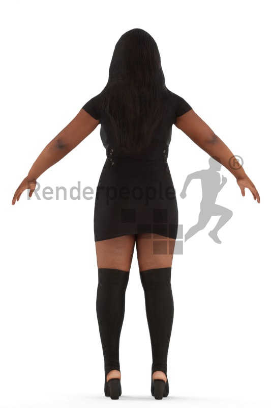 3d people evening, rigged black woman in A Pose