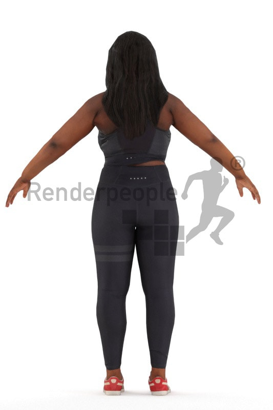3d people sports, rigged black woman in A Pose