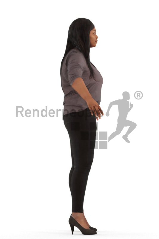 3d people casual, rigged black woman in A Pose