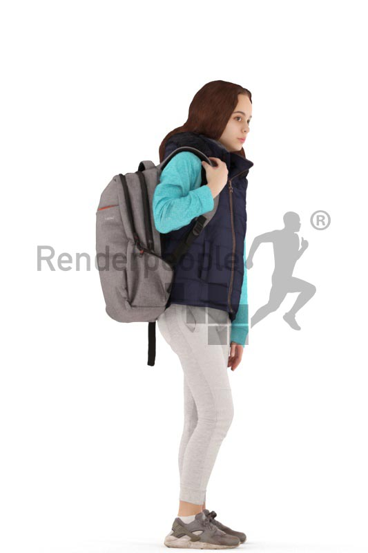 3d people casual, white 3d kid standing with a bagpack