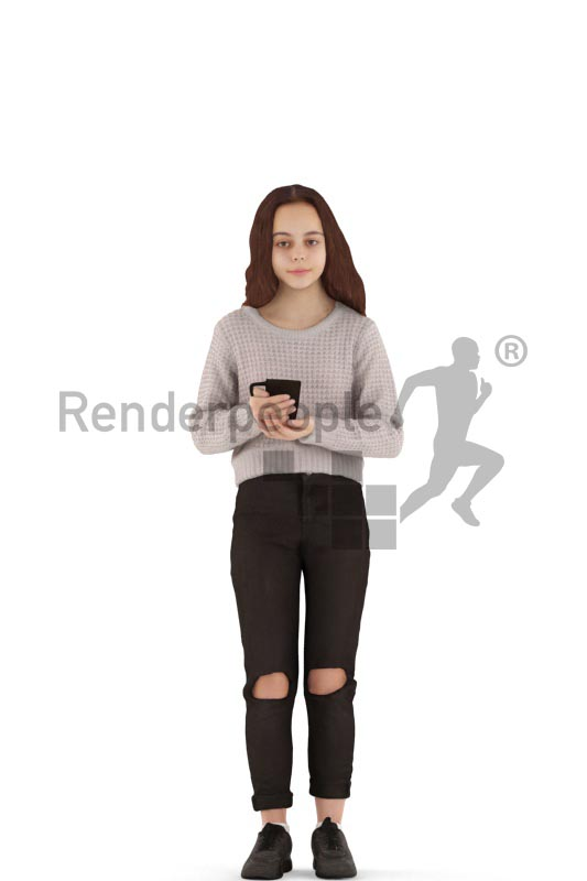 3d people casual, white 3d kid standing and drinking