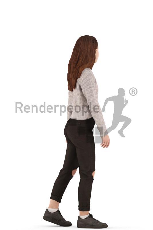 3d people casual, white 3d kid walking