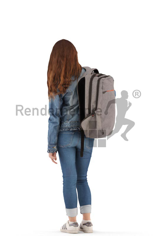 3d people casual, white 3d kid standing with her bagpack