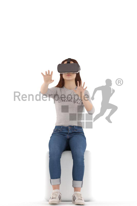 3d people casual, white 3d kid sitting, playing with vr goggles