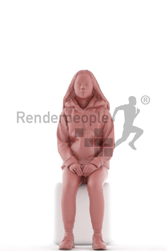 3d people casual, white 3d kid sitting and waiting