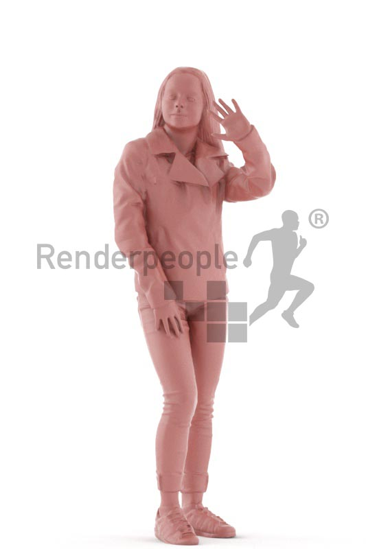 3d people casual, white 3d kid standing and waving
