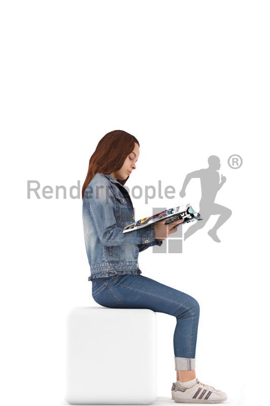 3d people casual, white 3d kid sitting, reading