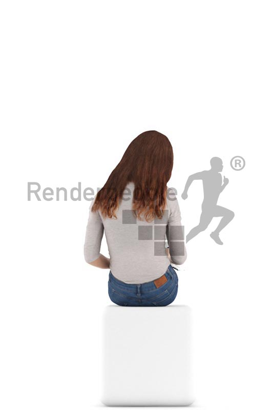 3d people casual, white 3d kid sitting, drawing