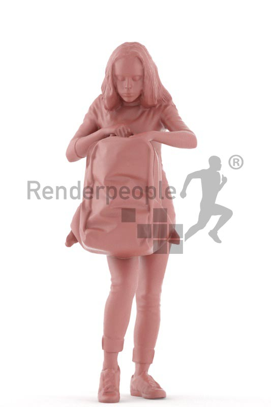 3d people casual, white 3d kid standing searching in her backpack
