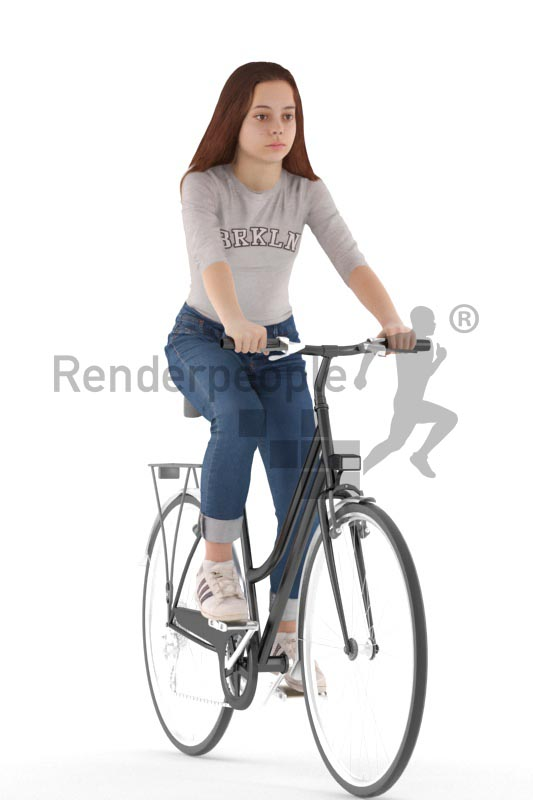 3d people casual, white 3d girl biking