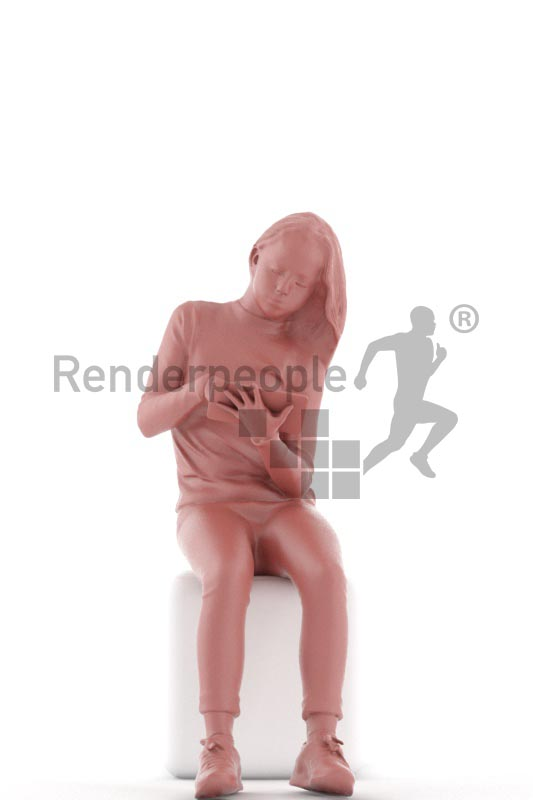 3d people casual, white 3d kid sitting playing with a tablet