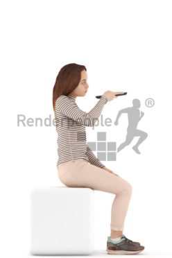 3d people casual, white 3d kid sitting using theremote control
