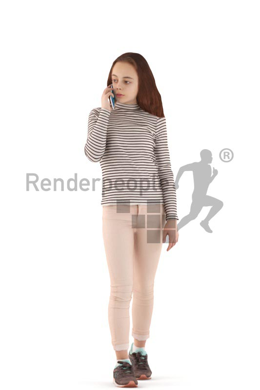 3d people casual, white 3d kid walking and calling