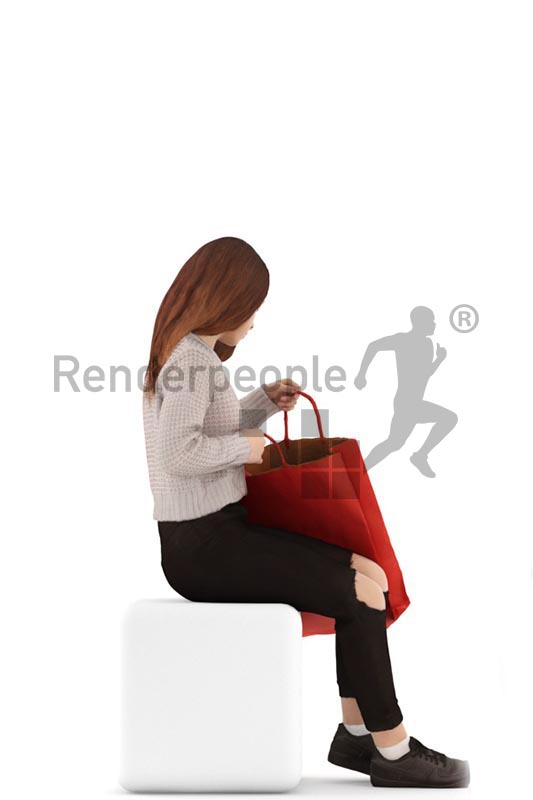 3d people casual, white 3d kid sitting an looking in her shopping bag