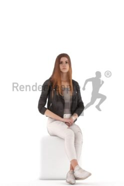 3d people casual, animated woman sitting and idling