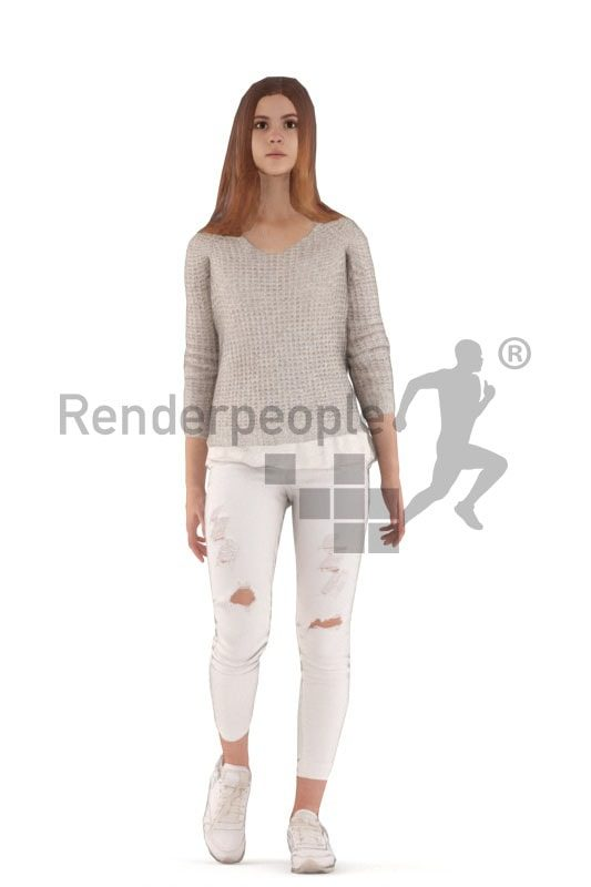 3d people casual, white animated woman walking