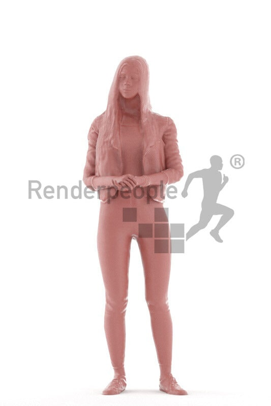 Animated 3D People model for realtime, VR and AR – european teenager girl in casual leather jacket, standing and talking