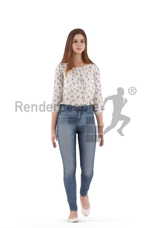 3D People model for animations –white woman, casual, walking