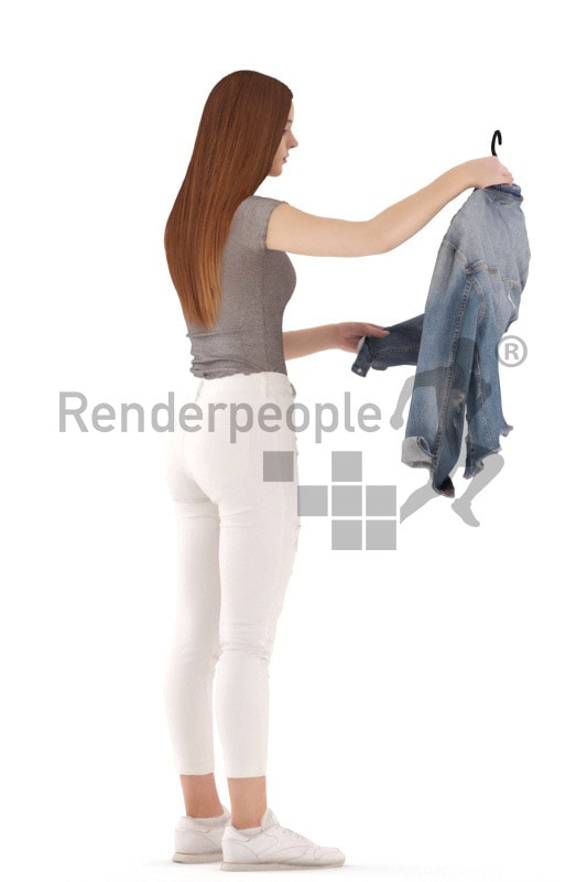 3d people kids, white 3d child standing and holding up a jacket