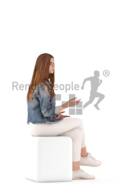 3d people kids, white 3d child sitting and discussing