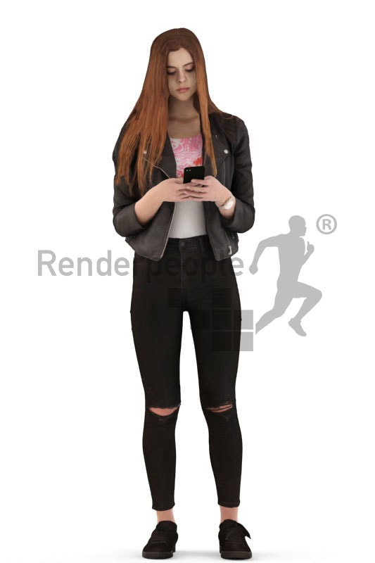3d people kids, white 3d child standing and texting
