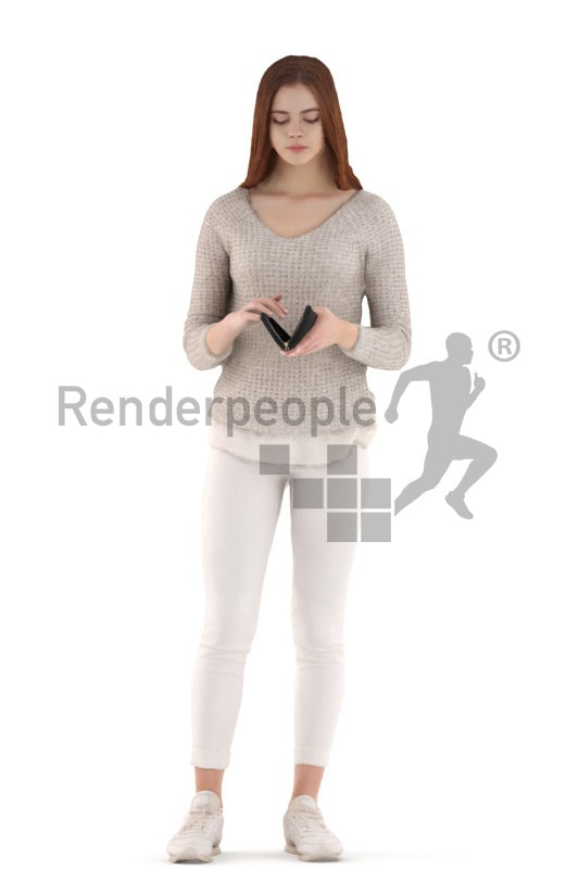 3d people kids, white 3d child standing and looking in her wallet