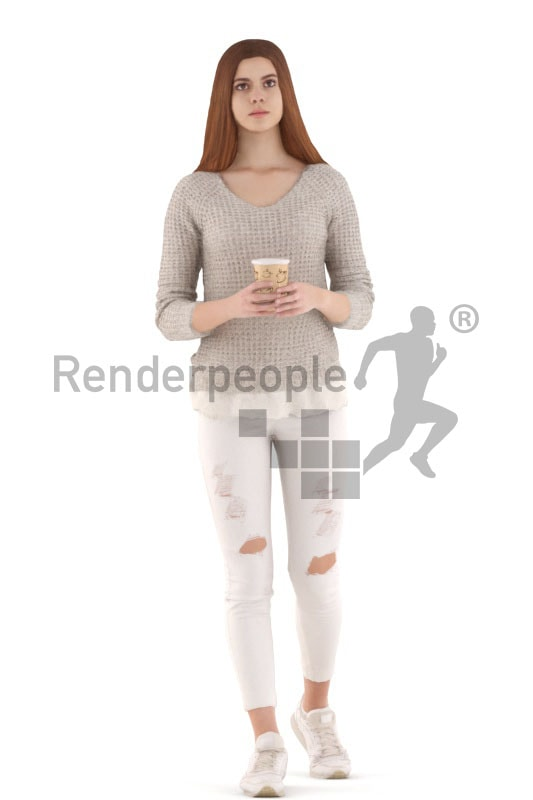 3d people kids, white 3d child walking and drinking
