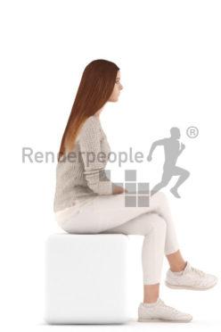 3d people kids, white 3d child sitting