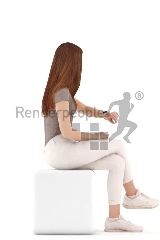 3d people kids, white 3d child sitting looking at her watch