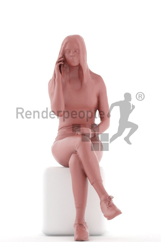3d people kids, white 3d child sittingand calling