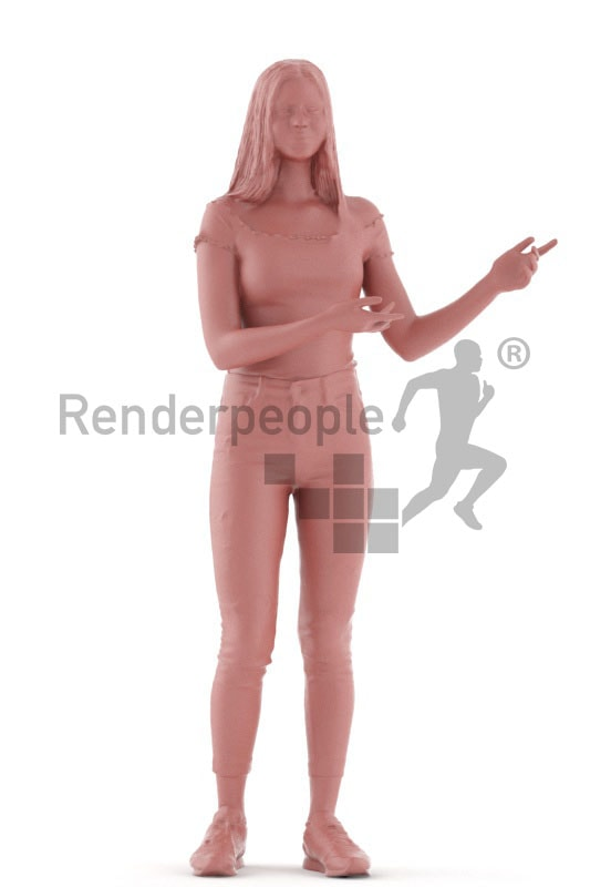 3d people kids, white 3d child standing and showing